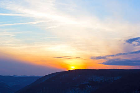 allegheny: Black hills at sunset. Sunset over the Allegheny Mountain Range in West Virginia, USA