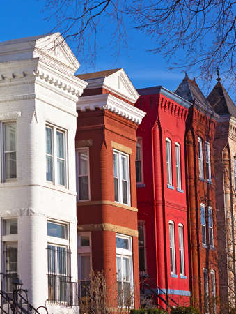 Colorful brick townhouses of Washington DC. Brick row houses at sunset in winter. photo