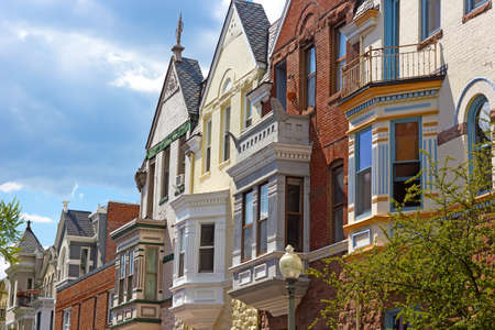 dupont: Residential architecture of Washington DC USA. Colorful townhouses near Dupont Circle in Washington DC. Stock Photo