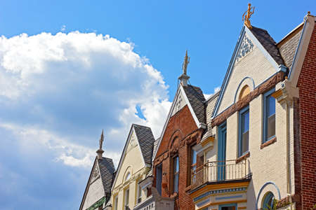 Details of residential architecture of Washington DC USA. Colorful townhouses near Dupont Circle in Washington DC. photo
