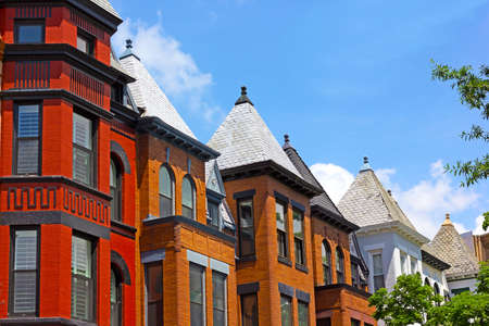 paint colorful: Row houses on a sunny day in Washington DC USA. Historic townhouse architecture of US capital.