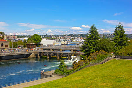 puget: Ballard Locks in Seattle. Locks connect the waters of Puget Sound with freshwater of Lake Union and Lake Washington. Stock Photo