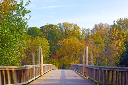 theodore roosevelt: A footpath bridge to Theodore Roosevelt Island and colorful trees in autumn Washington DC. Theodore Roosevelt Island Park gates in the early morning during fall. Stock Photo