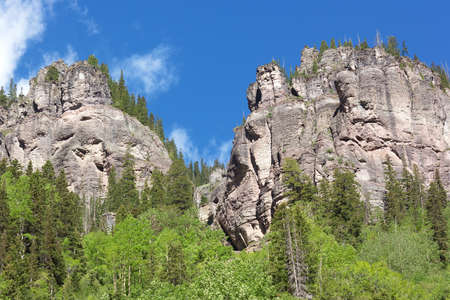 High mountains with forest in Telluride Colorado. Summer forest at high altitude in Colorado USA. Stock Photo