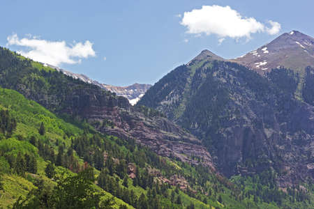 Mountains surrounding Telluride Colorado in summer. Beautiful view on high mountains of Colorado USA. Stock Photo