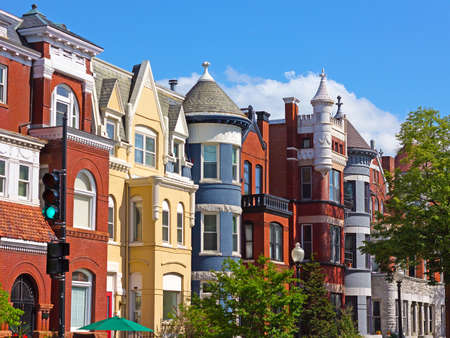 row of houses: Luxury townhouses of the US capital. Row houses near Dupont Circle in Washington DC, USA. Stock Photo