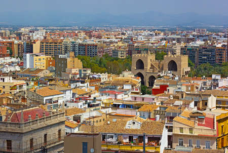 arial view: View on Valencia city from the bell tower. Arial view of European city urban architecture
