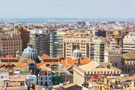 mercado central: An aerial view on Mercado Central in Valencia, Spain. European city urban architecture on a summer day.
