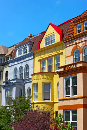 dupont: Luxury row houses of Washington DC, USA. Colorful historic townhouses near Dupont Circle in Washington DC.