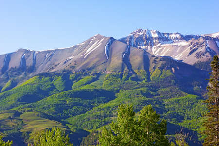 Foothills and mountains near Telluride, Colorado USA. Picturesque view on high mountains and foothills in summer.