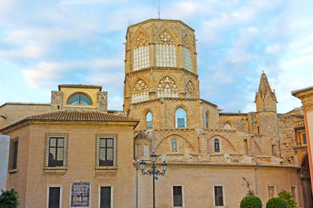 octogonal: The Metropolitan CathedralBasilica of the Assumption of Our Lady of Valencia, Spain. An octagonal tower of the cathedral in the early morning.