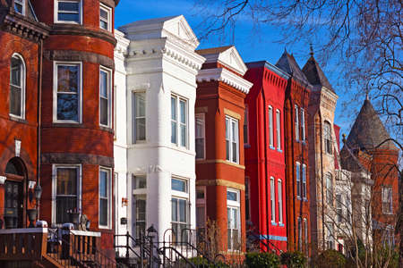 scenic: Row houses of Mount Vernon Square in Washington DC. Colorful residential townhouses in the afternoon sun.