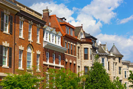 Residential townhouses in Washington DC, USA. Historic residential neighborhood near DuPont Circle in US capital.