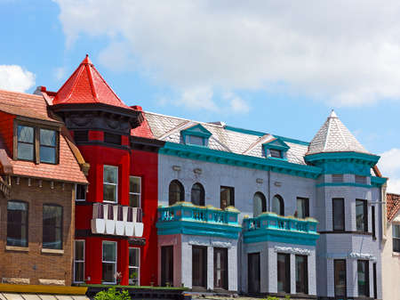 row of houses: Historic district of Washington DC, USA. Row houses and apartment buildings of Adams Morgan neighborhood. Editorial