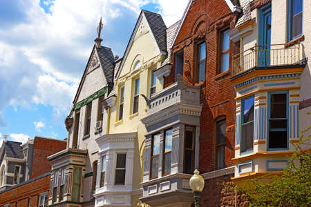 row of houses: Residential row houses in Washington DC, USA. Historic residential neighborhood in late spring. Editorial