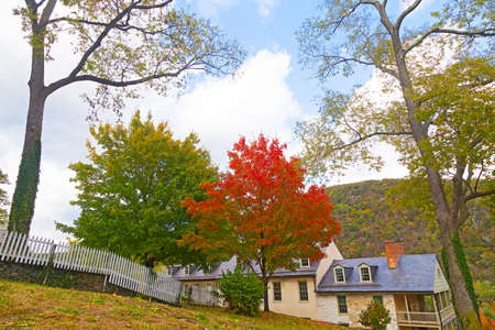 west virginia trees: Harpers Ferry National Historical Park in West Virginia, USA. Harpers Ferry historic town in autumn.
