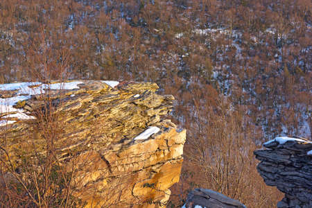 appalachian: Appalachian Mountains and forest at sunset in winter. A view on the forest from the mountain high point.