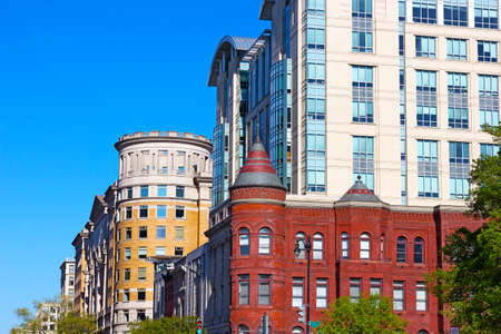 office building: Blend of modern and historic buildings in Washington DC, USA. Chinatown neighborhood on a summer morning. Stock Photo