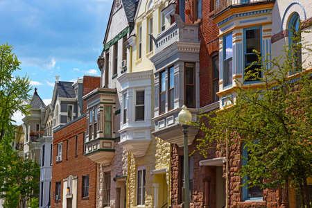 dupont: Luxury townhouses of US capital in spring. Colorful townhouses near Dupont Circle in Washington DC.