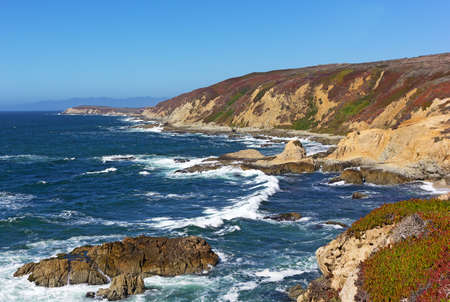 rock formation: Panoramic view of the rocky and rugged Pacific coastal line. Bodega Head promontory, California, USA