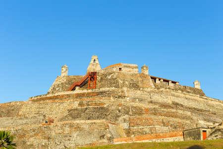 barajas: San Felipe de Barajas fortress. Castle is on a hill overlooking the Cartagena de Indias city in Colombia.