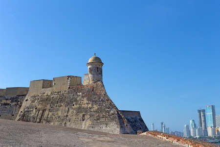 barajas: San Felipe de Barajas fortress. Castle is on a hill overlooking the Cartagena de Indias city in Colombia.
