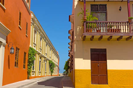 walled: Cartagena city street with vintage buildings, Colombia. Colorful building of Cartagena Walled City. Editorial