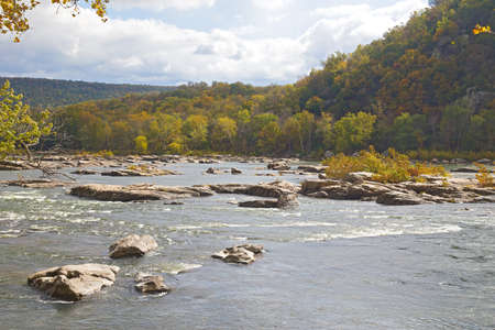 west river: Shenandoah River along Appalachian trail in West Virginia, USA. Rocky river in early autumn near Harpers Ferry historic town of West Virginia. Stock Photo