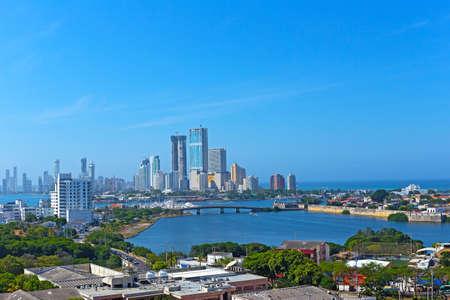 cartagena: A modern development and Caribbean Sea in Cartagena, Colombia. City skyline of modern Cartagena, Colombia.