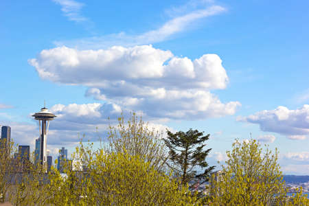 space needle: SEATTLE, WASHINGTON, USA  MARCH 25: Kerry Park neighborhood in spring with a view on the Space Needle in Seattle on March 25, 2016. Seattle Space Needle under the clouds on a spring afternoon. Editorial