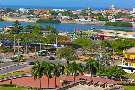 barajas: CARTAGENA, COLOMBIA  DECEMBER 27 2015: A view on the city from San Filipe de Barajas Castle in Cartagena on December 27, 2015. Magnificent views on the old walled town and Caribbean Sea from atop of the main city attraction.