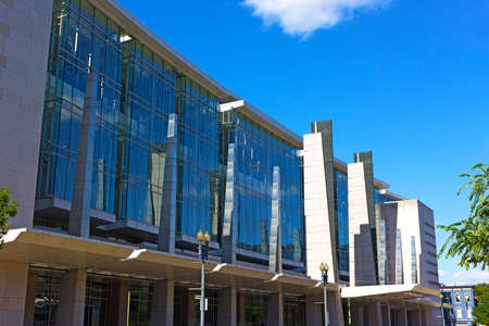 hosted: WASHINGTON DC, USA  JUNE 8, 2016: Facade of The Walter E. Washington Convention Center in Washington DC on June 8, 2016. The center hosted inauguration balls, international conferences and local events such as Post Washington Hunt 2016.
