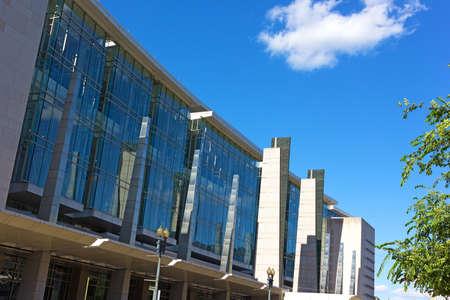 WASHINGTON DC, USA – JUNE 8, 2016: Washington Convention Center facade under a blue summer sky in Washington DC on June 8, 2016. The building named in honor of the city mayor, the late Walter E. Washington. Editorial