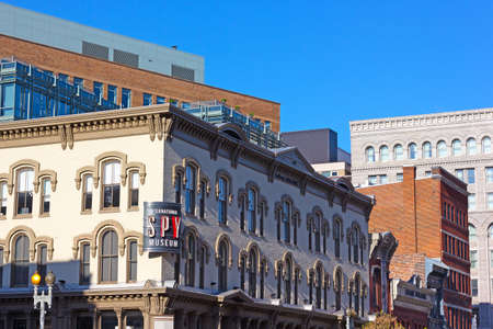 artifacts: WASHINGTON DC, USA - APRIL 29, 2015: International Spy Museum in Washington DC on April 29, 2015. The museum has the largest collection of international espionage artifacts and attracts a lot of tourists and locals since it�s opening on July 19, 2002.