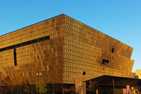 WASHINGTON DC, USA - NOVEMBER 5: Smithsonian National Museum of African American History and Culture at sunset on November 5, 2016 in Washington DC. Reklamní fotografie - 70598645