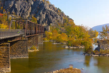 appalachian: Appalachian trail crossing Shenandoah River in Harpers Ferry. Colorful autumn landscape from a scenic outlook in West Virginia, USA. Stock Photo