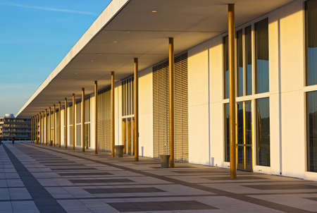 Balcony of The John F. Kennedy Center for Performing Arts at sunset before concert. Watergate complex has seen adjacent to the center building. Stock Photo