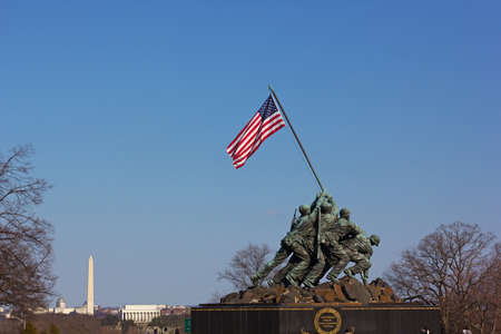 WASHINGTON DC, USA – MARCH 21, 2015: Marine Corps War Memorial at sunset on March 21, 2015 in Washington DC. The Iwo Jima Memorial located near Arlington Cemetery. Editorial