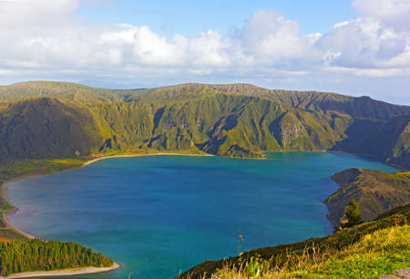 Lagoa do Fogo on Sao Miguel Island, Azores, Portugal. Volcanic lake at heights of the island surrounded by Nature Reserve. Stock fotó