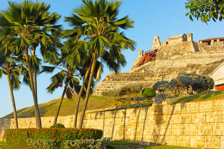 San Felipe de Barajas fortress at sunset in Cartagena, Colombia. The fortress is most visited city attraction played a key role in the country colonial past.