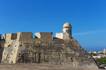Observation tower on the top of San Felipe de Barajas fortress in Cartagena, Colombia. Historic fortress locates on the hill overlooking old walled city. Banco de Imagens
