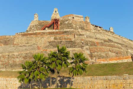 San Felipe de Barajas fortress on the Hill of San Lazaro in Cartagena, Colombia. The fortress is open to the public and most visited city attraction. Stock Photo