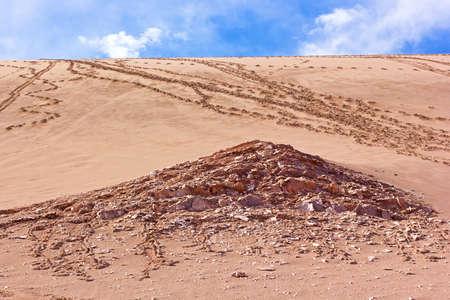 Sand skiing in San Pedro de Atacama, Chile. Sandy area of Atacama Desert.