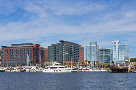 WASHINGTON DC, USA - OCTOBER 28, 2017: The Wharf in US capital after the three-year long project completed. District Wharf designed as broad promenade with new living, shopping and entertainment venues.
