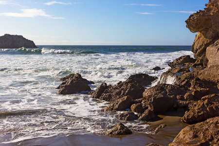 Panoramic view of the rocky and rugged Pacific coastal line. Scenic view on Pacific coastal line of California, USA.