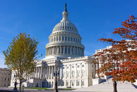 Washington DC, USA – NOVEMBER 11, 2017: US Capitol grounds in autumn. A view on the eastern side of the US Capitol in early morning.