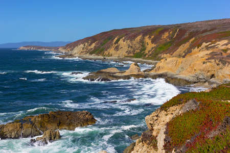 Pacific coastal line of Bodega Bay in California, USA. High waves of rugged shoreline near Bodega Head promontory. Stock Photo