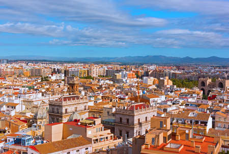 Panoramic view on Valencia, Spain. Dense urban planning of historic European city center.