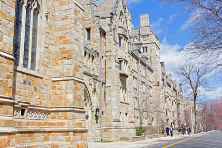NEW HAVEN, CONNECTICUT, USA - APRIL 8: Collegiate Gothic building of Yale University campus as seen on April 8, 2017. Historic architecture of the building inspired by English Tudor and Gothic buildings.