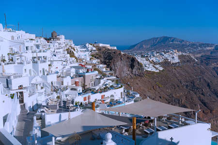 Panorama of Santorini Island, Greece.